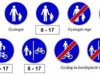Mit tartalmaznak a KRESZ előírásai: kerékpárút, gyalogút, gyalog- és kerékpárút, gyalogos övezet (zóna), gyalogos- és kerékpáros övezet (zóna)?